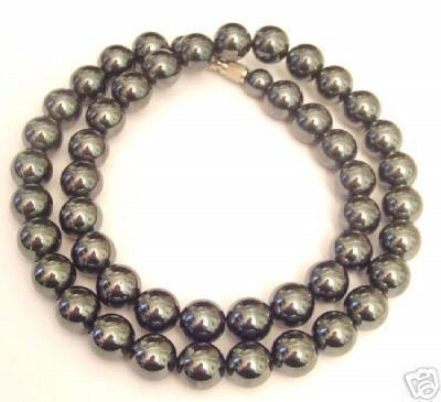 Real Black HEMATITE simulated Pearl Necklace CHOKER