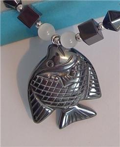 Real BLACK HEMATITE Pendant Necklace FISH BLUE QUARTZ