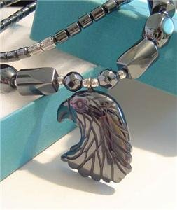 Real BLACK HEMATITE Pendant Necklace EAGLE HEAD