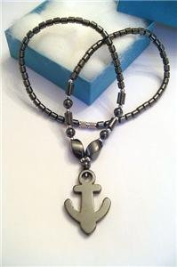 Real BLACK HEMATITE Pendant Necklace ANCHOR
