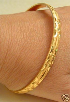 INDIA 22k GOLD PLATED WEDDING BRACELET BANGLE ENGRAVED