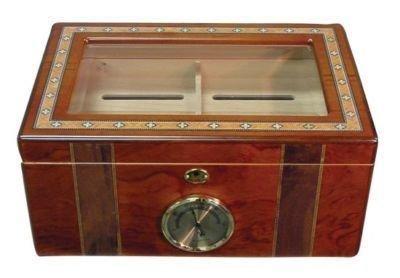 "80 Cigars Walnut  Wood HUMIDOR 14 x 9.5x 6.5"""