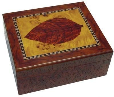 30 Cigars Walnut  Wood HUMIDOR Leaf Design
