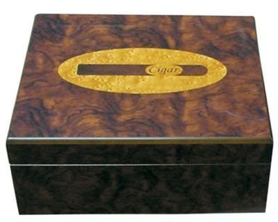 30 Cigars Cherry  Wood HUMIDOR 10.25 x 8.75 x 4.25""