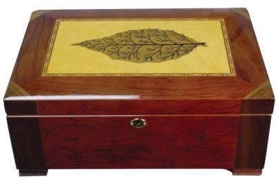 "120 Cigars Mahogany Wood HUMIDOR w Leaf 15.25x10.5x6"""