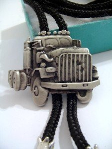 Pewter Metal Truck BOLO TIE Cowboy WESTERN NECKLACE