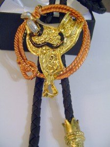 Gold Tone SADDLE BOLO TIE Cowboy WESTERN NECKLACE