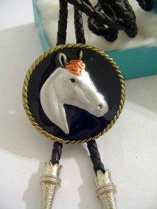 Black Enamel HORSE BOLO TIE WESTERN COWBOY NECKLACE