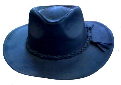 UNISEX 100% Genuine Leather BLACK Cowboy HAT FREE SHIP