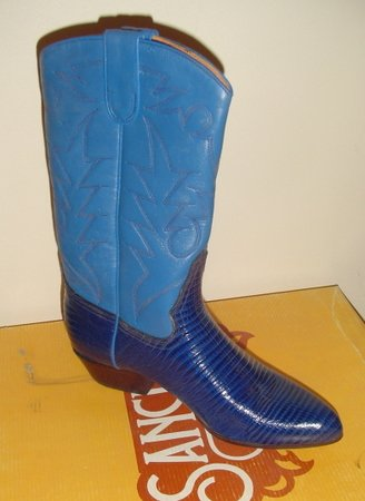 WOMEN BLUE LEATHER COWBOY WESTERN SANCHO BOOTS 38 NEW