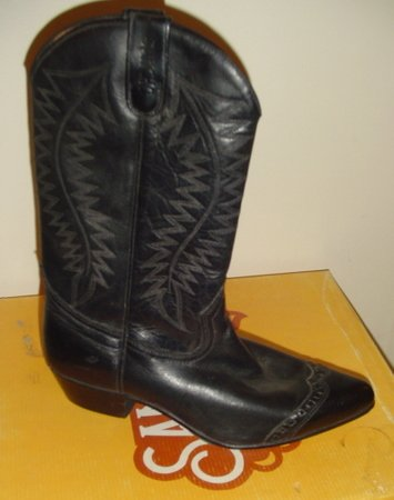 Unisex BLACK LEATHER COWBOY WESTERN SANCHO BOOTS New 42