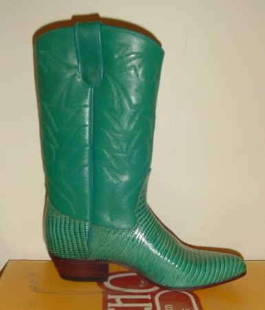 WOMEN GREEN LEATHER COWBOY WESTERN SANCHO BOOTS 37 New