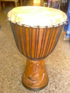 "20""H - 14""W AFRICAN DJEMBE ENGRAVED WOOD DRUM FREE SHIP"