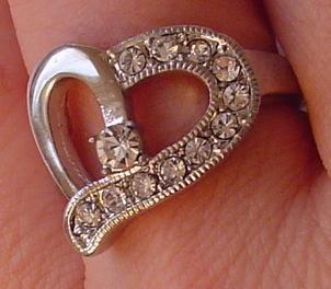 Austrian Crystal Rhinestones Heart Silver Tone RING