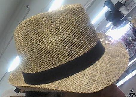 Beige Black Fedora Unisex Straw One Size Hat