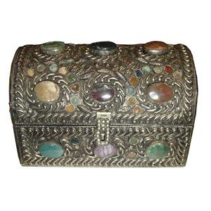 "10"" INDIA PEWTER SAFE JEWELRY BOX w STONE FREE SHIPPING"
