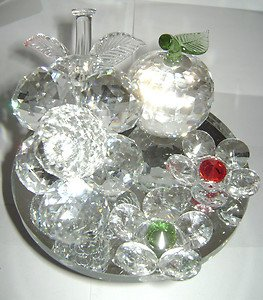 "Wonderful Pedestal Austrian Crystal Grape Flower Apple Clear Red Green 4.5"""