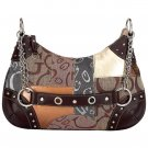 Gigi Chantal  Brown Jacquard Patchwork Purse