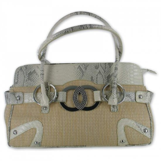 GiGi Chantal Tan Woven Purse with Beige Snake Like Trim