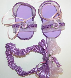Baby Girl Sandals -LAVENDER with headband