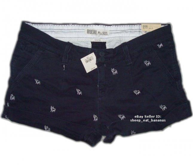 RUEHL/Abercrombie women twill logo shorts - navy blue / 8