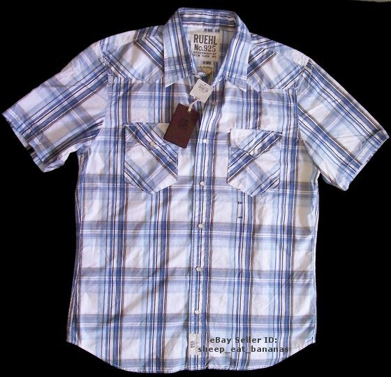 RUEHL/Abercrombie mens button dress woven western plaid shirt - XXL