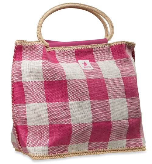 AERIE by American Eagle gingham plaid tote bag - pink