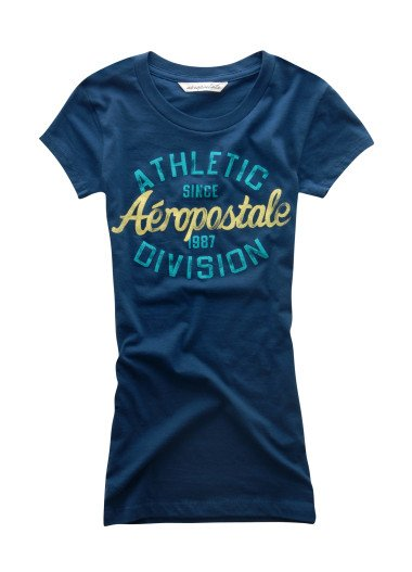 AEROPOSTALE womens Athletic Division Baby Tee T-Shirt Top - Blue / XL