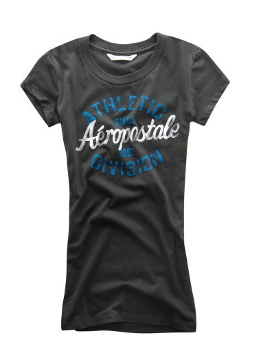 AEROPOSTALE womens Athletic Division Baby Tee T-Shirt Top - Black / XXL