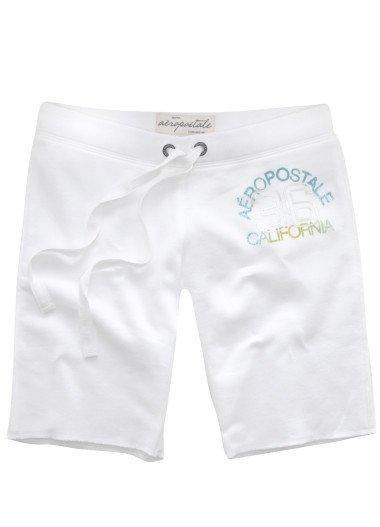 AEROPOSTALE womens California Bermuda fleece lounge shorts - White / Extra Small XS