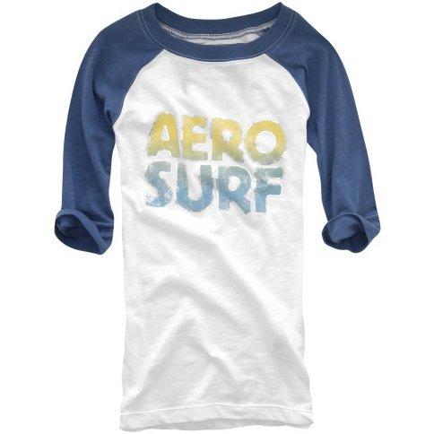 AEROPOSTALE womens Aero Surf Baseball Tee T-Shirt Top - Blue / Extra Small XS