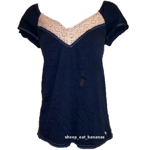 "ABERCROMBIE & FITCH womens ""Lydia"" lace knit top shirt - Blue / Large L"
