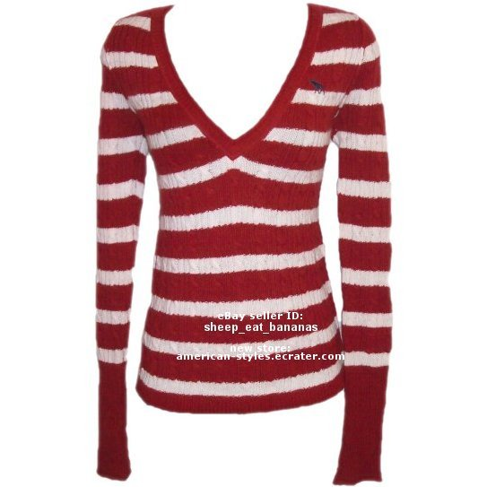"ABERCROMBIE & FITCH ""Heather"" angora v-neck stripe pull-over sweater jumper - Red / Medium M"