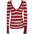 "ABERCROMBIE & FITCH ""Heather"" angora v-neck stripe pull-over sweater jumper - Red / Medium M"