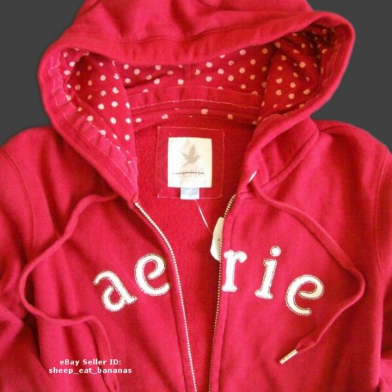 Aerie by American Eagle full-zip fleece hoodie sweater - Red / Small S