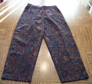 Retro Coldwater Creek Women's Multi Colored Paisley Pants Size 8P 8 Petite 001p-40 Locw14