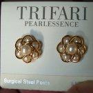 Vintage TRIFARI Pearlessence Goldtone EARRINGS Costume Jewelry 07ear Surgical Steel Posts
