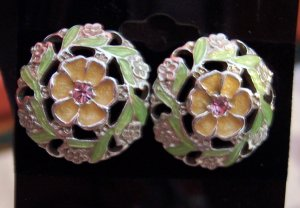 Vintage 1928 Silvertone Enamel PIERCED EARRINGS Costume Jewelry 08ear