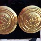Vintage LIZ CLAIBORNE Goldtone Coat of Arms LC PIERCED Button EARRINGS Costume Jewelry 11ear