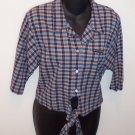 Retro Vintage Navy HARLEY DAVIDSON Crop TOP Shirt Size M Medium