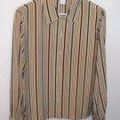 Career Minded Celery Stripe Silk CASUAL CORNER BLOUSE Top Shirt Size 8 M Medium