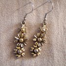 Vintage Antique Goldtone Pierced EARRINGS Floral Drops French Ear Wires Costume Jewelry 12ear