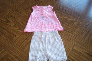 TINY TOTS Pink Blue Check Girls SHORT OUTFIT 6 - 9 Months Butterflies Flowers (bin3)