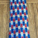 Vintage WOODWARD Men's TIE NECKTIE Red Navy Light Blue Yellow Geometric Floral Pattern location98