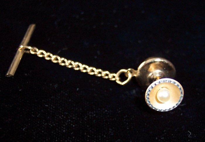 Vintage Goldtone Faux Pearl Scalloped Cut Edge Tie Tac Men's Jewelry