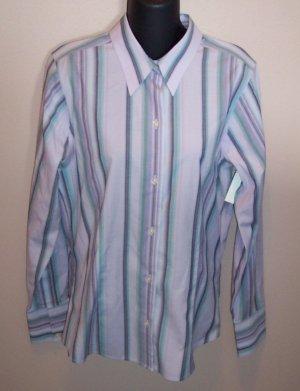 EDDIE BAUER Lavender LS Striped Wrinkle Resistent BLOUSE Shirt Top Size M Medium Tall locationw10