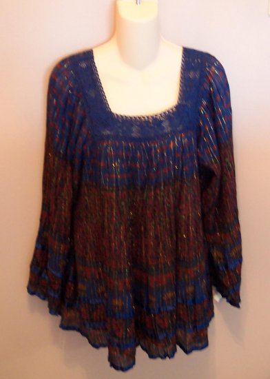 Retro BabyDoll Hippie Wide Sleeve MARISOL Shirt Top Size M Medium locationw10