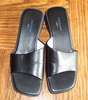 Casual Black DOCKERS Leather SANDALS Slides Shoes Size 7 M locationw1