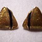 Vintage Goldtone Glitzy Triangle Post Pierced EARRINGS 26ear