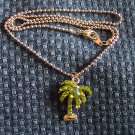 Vintage Rhinestone Palmtree PENDANT Necklace Costume Jewelry 3necklace